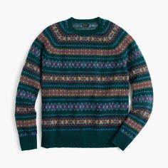 J.Crew Gift Guide: men's Fair isle sweater in forest.