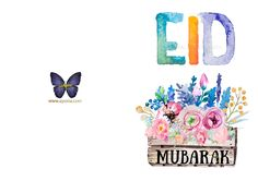 Eid Mubarak – Watercolor Card Eid Mubarak Stickers, Eid Stickers, Eid Mubarik, Eid Food, Eid Crafts, Eid Greetings, Name Letters, Hand Lettering Quotes, Happy Eid