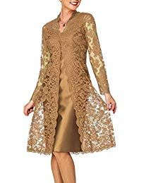 Fitty Lell Women's A Line Satin Short Mother of The Bride Dress with Lace Jacket. - Fitty Lell Women's A Line Satin Short Mother of The Bride Dress with Lace Plus,Gold)- - Formal Dresses For Women, Trendy Dresses, Cute Dresses, Short Dresses, Fashion Dresses, Bride Dresses, Special Dresses, Dresses Dresses, Dance Dresses