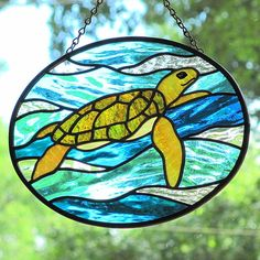 Stained Glass Sea Turtle Oval Suncatcher Panel by LivingGlassArt