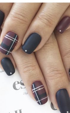 Winter Nails - 50 nail art for winter ideas Winter Nail Designs, Winter Nail Art, Gel Nail Designs, Winter Nails, Fall Nails, Nails Design, Plaid Nail Designs, Cute Nails For Fall, Winter Art