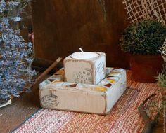 """Купить Подсвечник для интерьера """"80 дней вокруг света""""(дерево,мозаика) - белый, подсвечник ручной работы"""