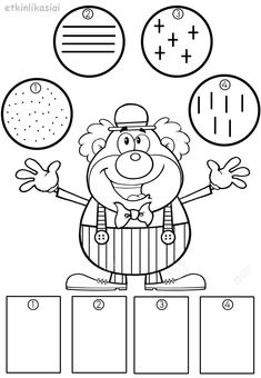 Clown Party, Circus Clown, Math Worksheets, Fine Motor Skills, Coloring Pages, Activities For Kids, Kindergarten, Preschool, Arts And Crafts