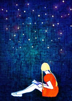 Girl reading among stars