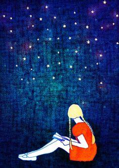 Girl reading among stars