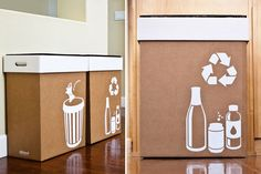 disposable or reusable garbage and recycling bins for get-togethers - perfect for friends with high hippie points!