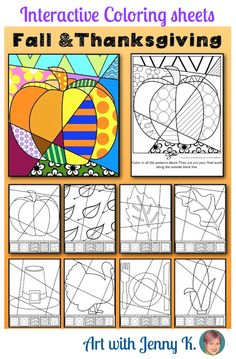Interactive coloring sheets for fall and Thanksgiving--no two are ever the same!
