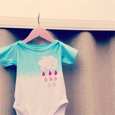 """Turquoise hand dip dyed onesie with """"Ombre Rain"""" Cloud handstitched Applique   Monkeys Over The Moon   madeit.com.au"""