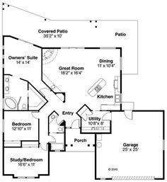 Southwest Style House Plan 69352 with 3 Bed, 2 Bath, 2 Car Garage First Floor Plan of Santa Fe Southwest House Plan 1700 sq ft with 3 bdrooms and a great room. Small House Floor Plans, Best House Plans, Southern House Plans, Ranch House Plans, Mediterranean House Plans, Monster House Plans, Southwest Style, How To Plan, Santa Fe
