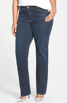 Plus Size Women's James Jeans High Rise Straight Leg Jeans (Indigo)