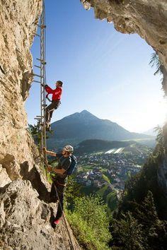 Steinwand in Arzl (Klettersteig leicht)