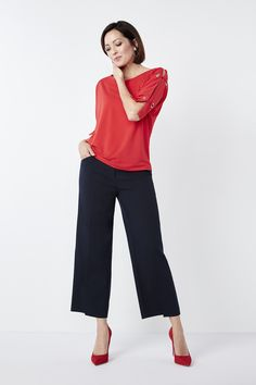 Comfortable, flattering and on trend - our wide leg crop is the pant your spring wardrobe deserves. Wide Leg Cropped Pants, Crepe Top, Capri Pants, Navy, Red, Collection, Spring, Tops, Fashion
