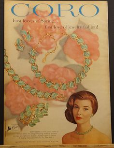 Vintage Jewelry Ads--1960 CORO Jewelry LUSTRE LEAVES necklace~ bracelet ~earrings~ pin Ad