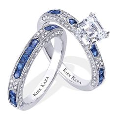 Exquisite designer diamond and sapphire engagement ring with matching band