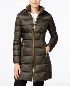 MICHAEL Michael Kors Hooded Long Packable Down Puffer Coat