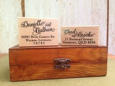 Calligraphy - Personalized Wooden Stamp - Wedding - Address - FREE SHIPPING