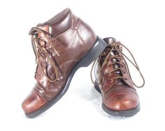 VTG 90's Brown Leather Hiking Boots size 7 Womens Ankle High Lace Up Booties Walking Boots Granny Boots Vintage Boots