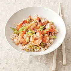 Garlic-Ginger Shrimp | MyRecipes.com #myplate #veggies #protein #wholegrain