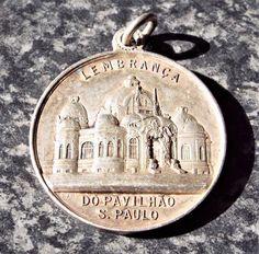 Rio de Janeiro Brazil National Exhibition - Antique 1908 Silver Medal