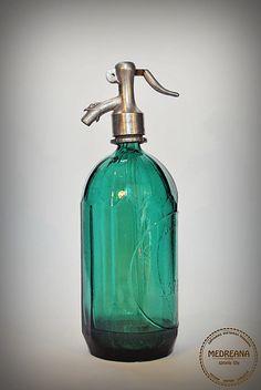 Vintage Seltzer Soda Siphon Bottle 1950s Green by VintageMedreana, $54.00