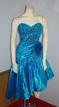 Zum Zum blue lame Cocktail Dress Strapless by TheScarletMonkey