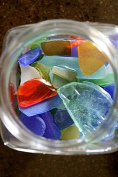Jar of Glass - May 2012 Sea Glass Photo Contest: ~ sea glass photo submitted by Lucy O'Connor, Bedminster, New Jersey Where was this photo taken? Surf City, New Jersey Date, time of day, and