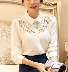Cheap ganchillo más tamaño calado coreano damas elegantes camisa de gasa blanca blusa de encaje impresión manga larga tops de encaje blusas camisas de las mujeres, Compro Calidad Blusas y Camisas directamente de los surtidores de China:    1. 100% nuevo2. material:+ encajegasa3. el material de la tela le da sensación cómoda.&