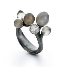 Charlotte Lynggaard, Midnatt (Midnight), oxidized silver, moonstones, and 67 pavé set diamonds in 18-karat white gold