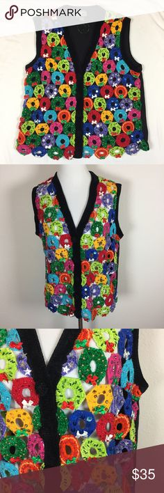 """Vintage multicolor wreath sweater vest medium Gently used vintage sweater vest. Crochet wreaths in a variety of colors (pink, red, blue, teal, yellow, lime, green). Each wreath is decorated with beads, sequins, gems, or ribbons. Some wear given age, but in really good condition. 20"""" from armpit to armpit. 22"""" long from shoulder to hem. Sweaters"""