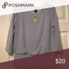 NWT Ann Taylor Blouse Brand new with tags, retail $50 size small. Sheer overlay and sleeves. Light greyish blue Ann Taylor Tops Blouses