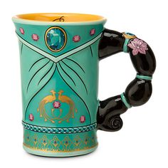 Your wish for a Jasmine Mug featuring the Disney Princess' jet black hair as a handle has come true. The fairytale wonder of Aladdin is captured in relief in this ceramic cup that incorporates elements of the story in its design. Disney Jasmine, Princess Jasmine, Disney Coffee Mugs, Cute Coffee Mugs, Tea Mugs, Coffee Cups, Coffee Gifts, Disney Home, Disney Parks