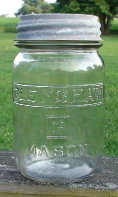 Vintage Glenshaw Square G Clear Square Mason Pint JAR With Zinc LID | eBay