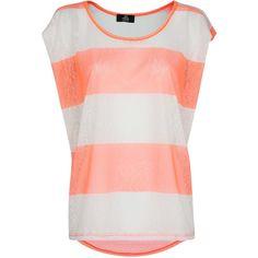 Mango Neon Striped T-Shirt (1.215 RUB) ❤ liked on Polyvore featuring tops, t-shirts, shirts, blusas, bright orange, short-sleeve shirt, red striped shirt, red shirt, red t shirt and neon t shirts