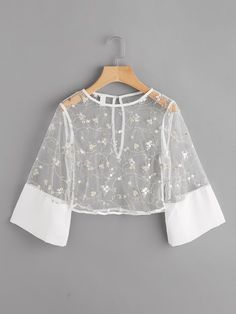 Shop Contrast Cuff Keyhole Back Embroidery Mesh Crop Top online. SheIn offers Contrast Cuff Keyhole Back Embroidery Mesh Crop Top & more to fit your fashionable needs. Girls Fashion Clothes, Teen Fashion Outfits, Mode Outfits, Girl Fashion, Fashion Dresses, Fashion Design, Crop Top Outfits, Cute Casual Outfits, Pretty Outfits