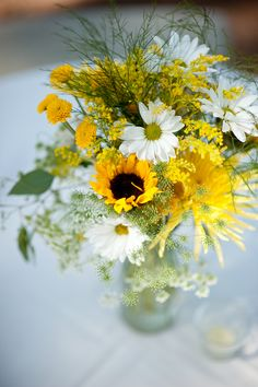 Rustic yellow reception wedding flowers,  wedding decor, wedding flower centerpiece, wedding flower arrangement, Colors could be more flamboyant but idea and simplicity great