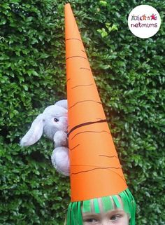 Giant carrot Easter hat. Struggling for Easter bonnet ideas for boys? We've got loads of brilliant bonnet ideas for you to make, featuring everything from dinosaurs to Batman.