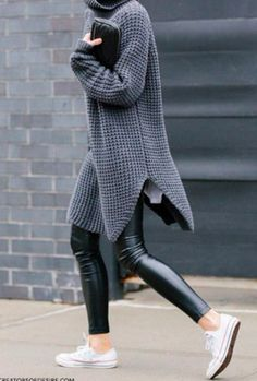 Chunky sweater + vegan leather leggings.