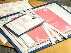 Romantic Vintage Wedding Invitations, Coral #weddings #invitation @EtsyMktgTool http://etsy.me/2y5ZNF6 #romanticvintage #weddinginvitations