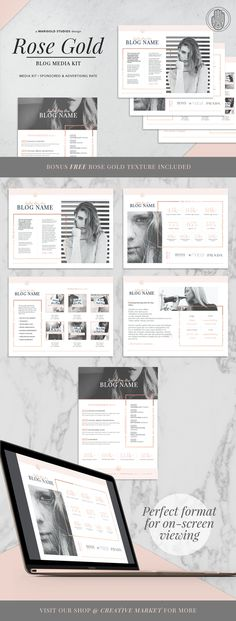 ROSE GOLD Theme   Blog Media Kit by Marigold Studios on @creativemarket