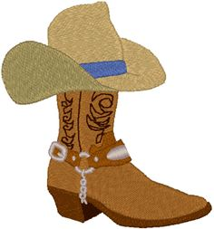 Cowboy boot with hat on top