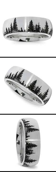 For him. This domed 8 mm men's wedding band features a pine tree pattern laser carved into cobalt with a brushed finish. Proudly made in the USA.