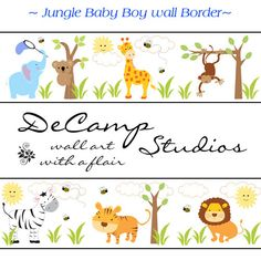 JUNGLE ANIMALS WALLPAPER wall art border decals baby boy nursery or kids room decor. Includes a zebra, monkey, giraffe, elephant, tiger, lion, and koala bear #decampstudios $18.00