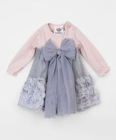 Another great find on #zulily! Vintage Rose & Gray Rosette Bow Dress - Infant #zulilyfinds