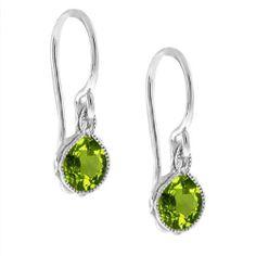 1.80 Ct Green Peridot .925 Silver French Wire Earrings:Amazon:Jewelry