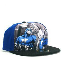 b67200da3ac New Era Captain America 59fifty Custom Fitted Hat Size 7 1 4 Marvel Comics  Blue