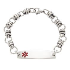 White Pre-Engraved /& Customizable Compazine Allergy Toggle Medical Alert Bracelet My Identity Doctor Steel Hearts