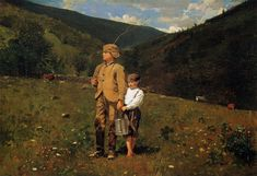 Crossing the Pasture by Winslow Homer - Handmade Oil Painting on Canvas - American Paintings — Canvas Paintings Winslow Homer Paintings, Pictures Of America, Cool Landscapes, American Artists, American Realism, Oil Painting On Canvas, Art Google, Illustrators, Opera