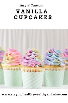 Rainbow Frosting, Rainbow Cupcakes, Cupcake Frosting, Rainbow Swirl, Buttercream Frosting, Rainbow Sweets, Beautiful Cupcakes, Vanilla Cupcakes, Play Food