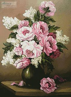 Peony and Lilac - cross stitch pattern designed by Tereena Clarke. Category: Flowers.