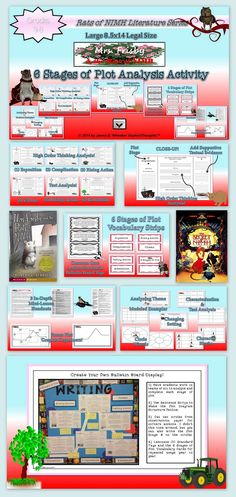 Mrs. Frisby and the Rats of NIMH (by Robert C. O'Brien) Themed Plot Analysis Response Card Activity comes in Large Legal Size Format (8.5x14) which is Optimal for Teacher Modeling, Group Activities, Bulletin Board Displays or Independent Work.O'Br Increase the academic rigor in the classroom by providing a differentiated, tiered activity. You can use this activity for both the novel and film version of the tale!